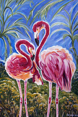 Fairy Hearts Pink Flower Painting - Love Flamingos  by Yelena Rubin