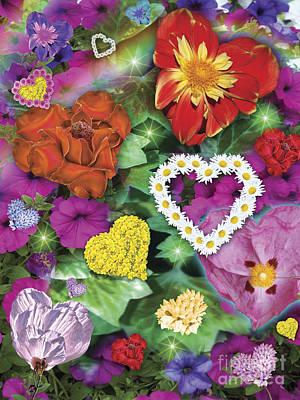 Butterflys Digital Art - Love Flowers Garden by Alixandra Mullins