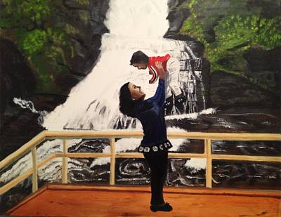 Art Print featuring the painting Love Flows Like The Waterfalls by Brindha Naveen