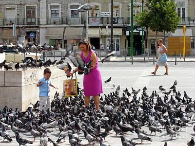 Woman Photograph - Love For Pigeons by Jose Elias - Sofia Pereira
