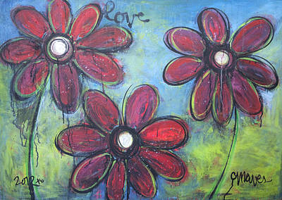 Painting - Love For Three Daisies by Laurie Maves ART