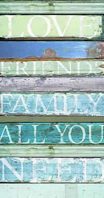 Love, Friends, Family Art Print by Cora Niele