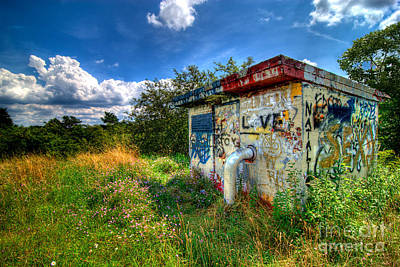 Love Graffiti Covered Building In Field Print by Amy Cicconi