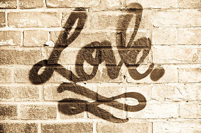 Masonry Photograph - Love Graffiti by Tom Gowanlock
