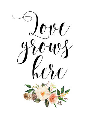 Family Love Painting - Love Grows Here Floral by Tara Moss