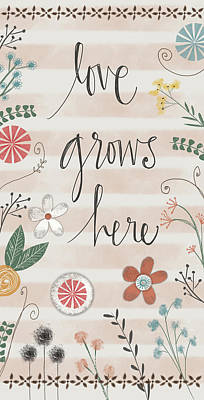 Mixed Media Florals Painting - Love Grows Here by Katie Doucette