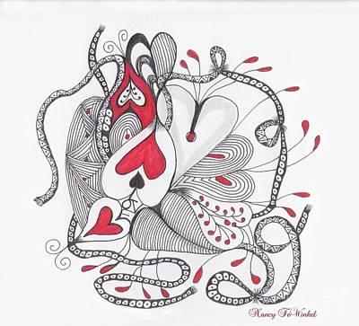 Tangle Drawing - Love Heart by Nancy TeWinkel Lauren