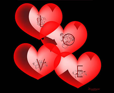 Digital Art - Love Hearts by Ericamaxine Price