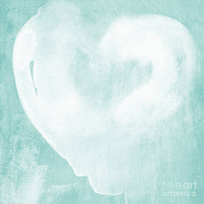 Heart Wall Art - Mixed Media - Love In Aqua by Linda Woods