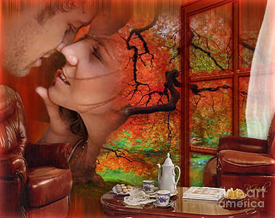 Art Print featuring the digital art Love In Autumn - Digital Art By Giada Rossi by Giada Rossi
