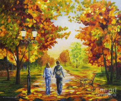 Multicolored Painting - Love In Autumn by Veikko Suikkanen