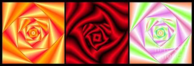 Digital Art - Love In Disguise Heart Of A Rose Triptych  by Rose Santuci-Sofranko