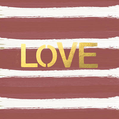 Stencil Painting - Love In Gold And Marsala by Linda Woods