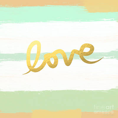 Stripes Mixed Media - Love In Mint And Gold by Linda Woods