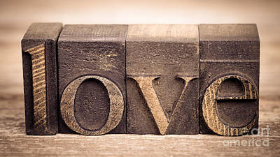 Printer Photograph - Love In Printing Blocks by Jane Rix