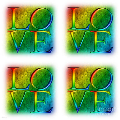 Digital Art - Love In Rainbow 4 X 4 by Andee Design