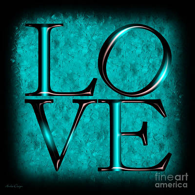 Digital Art - Love In Teal by Andee Design