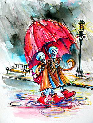 Painting - Love In The Rain by Heather Calderon
