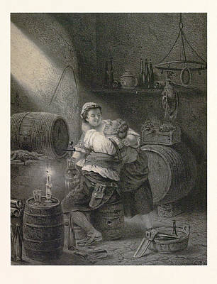 Love In The Winecellar, Barrel, Wine, Man, Woman, Male Art Print by English School