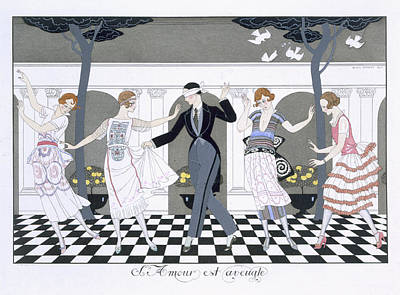 Ballroom Dancing Painting - Love Is Blind by Georges Barbier
