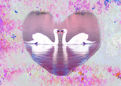 Swan Digital Art - Love Is Everywhere by Bill Cannon