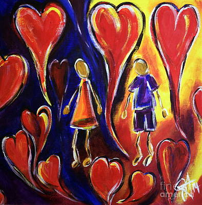 Floating Girl Painting - Love Is In The Air by Jackie Carpenter