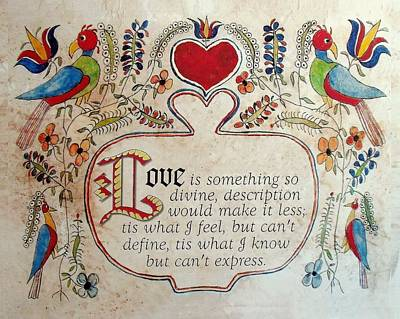 Fraktur Painting - Love Is by Joan Shaver