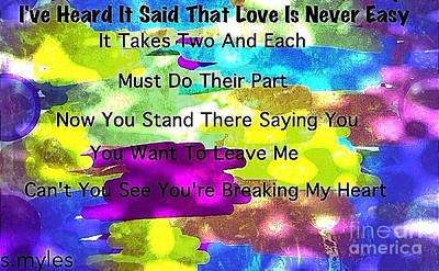 Digital Art - Love Is Never Easy by Saundra Myles