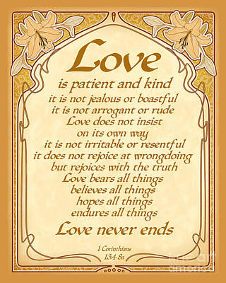 Love Is Patient - Gold Art Nouveau Style Art Print