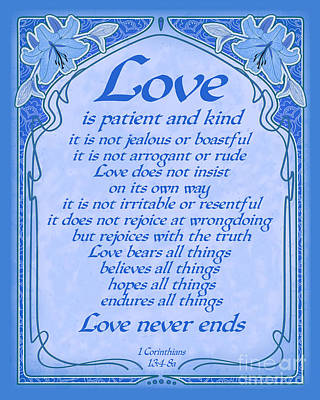 Digital Art - Love Is Patient - Blue Art Nouveau Style by Ginny Gaura