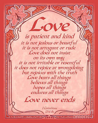 Digital Art - Love Is Patient - Red Art Nouveau Style by Ginny Gaura