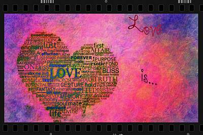 Fabric Mixed Media - Love Is Poster On Pink With Vintage Film Frame by Eti Reid