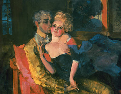 Sit-ins Painting - Love by Konstantin Andreevic Somov