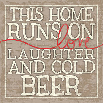 Wood Grain Digital Art - Love Laughter And Beer by Misty Diller