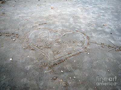 Love Letters In The Sand Art Print by Sharon Burger