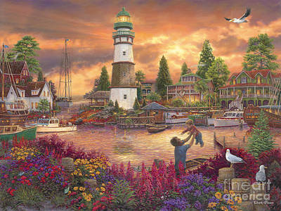 New England Lighthouse Painting - Love Lifted Me by Chuck Pinson