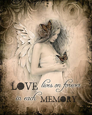 Angel Art Mixed Media - Love Lives On by Jessica Galbreth