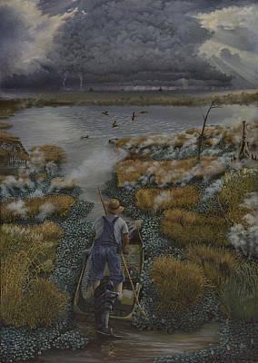 Louisiana Alligator Painting - Louisiana Gator Hunter  by Peter E Malbrough
