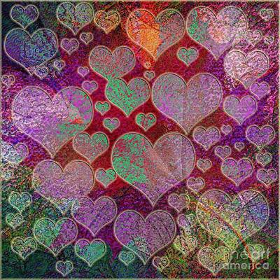 Abstract Hearts Digital Art - Love... Love... Love by Klara Acel