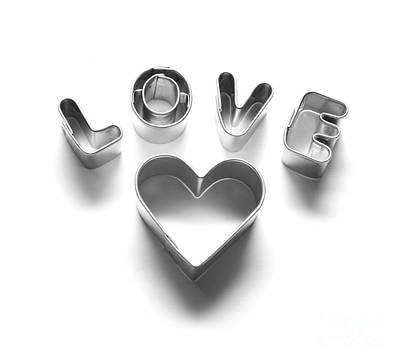 Chrome Photograph - Love Message And Heart Made Of Chrome Letters by Michal Bednarek