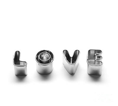Valentine Photograph - Love Message Made Of Chrome Letters by Michal Bednarek