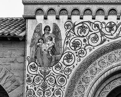 Stanford University Photograph - Love Mosaic Detail Stanford Memorial Church In Black And White by Priya Ghose