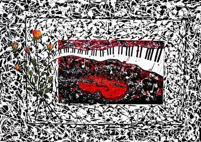 Violine Painting - Love Music Memories Original Acrylic Painting  by Georgeta Blanaru