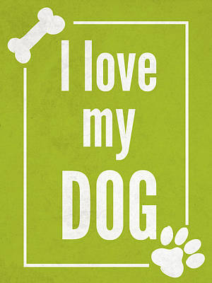Paws Digital Art - Love My Dog Green by Sd Graphics Studio