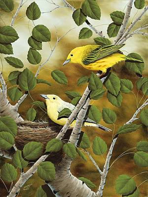 Warbler Painting - Love Nest by Rick Bainbridge