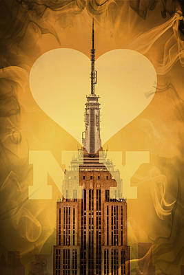 Empire State Building Digital Art - Love New York by Az Jackson