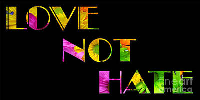 Photograph - Love Not Hate Crazy Daisies Black by Andee Design
