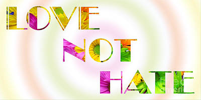 Photograph - Love Not Hate Rainbow Crazy Daisies by Andee Design