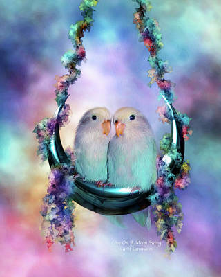 Love On A Moon Swing Art Print by Carol Cavalaris