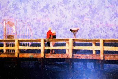Mixed Media - Love On The Pier by Florene Welebny
